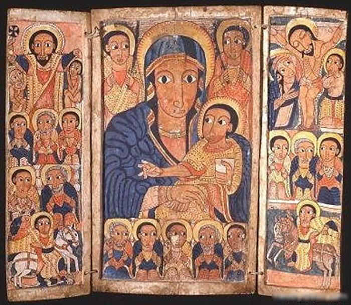 Икона Девы Марии со Христом из эфиопской церкви.